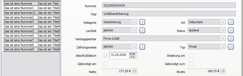 Screenshot der Vertragsverwaltung TSVertrag 2012